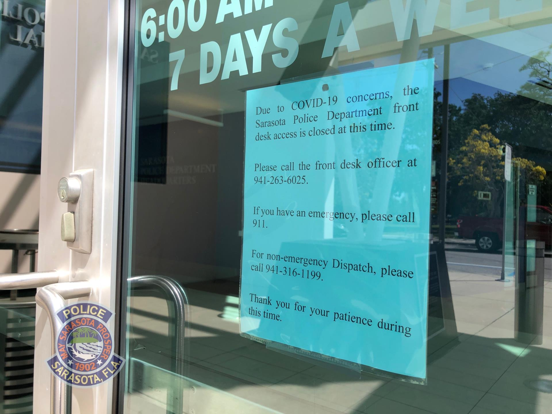 Sarasota Police Department Closes Front Desk Access – Community can call or e-mail