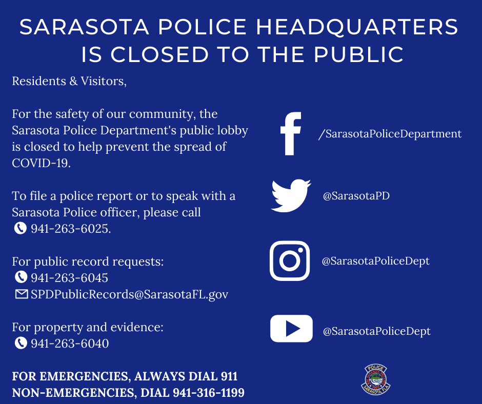 Sarasota police Headquarters is closed to the public (1)
